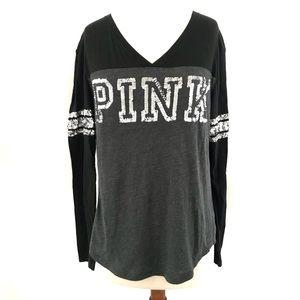 Pink Long Sleeve Sequins Logo Print Baseball Tee